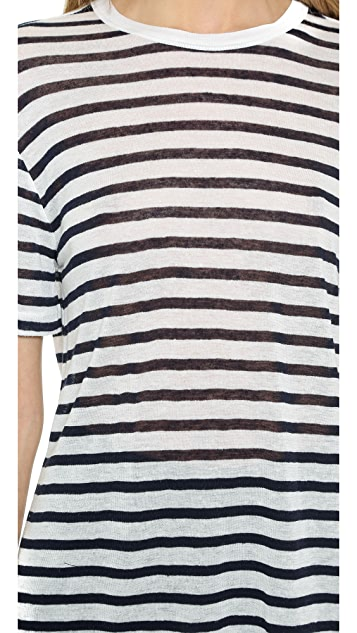 T by Alexander Wang Stripe Rayon Linen Short Sleeve Tee