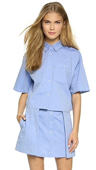 T by Alexander Wang Cotton Oxford Cropped Boxy Shirt