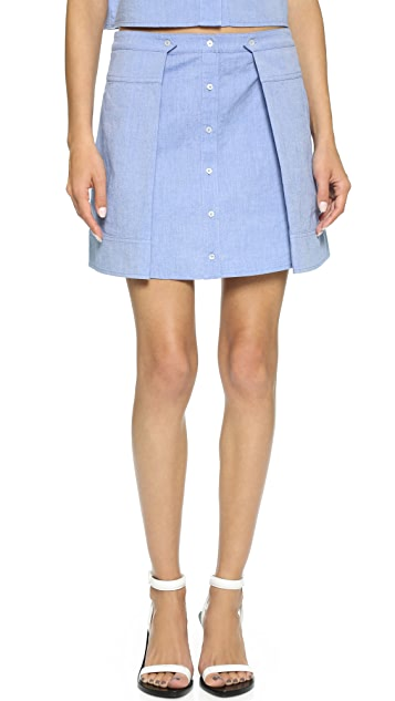T by Alexander Wang Cotton Oxford Two Fold Miniskirt