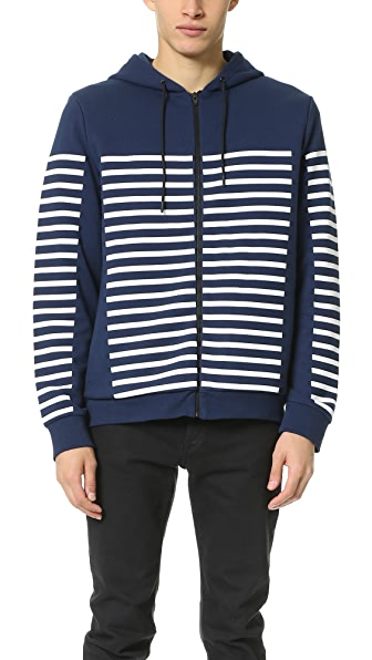 T by Alexander Wang French Terry Striped Gel Print Hoodie