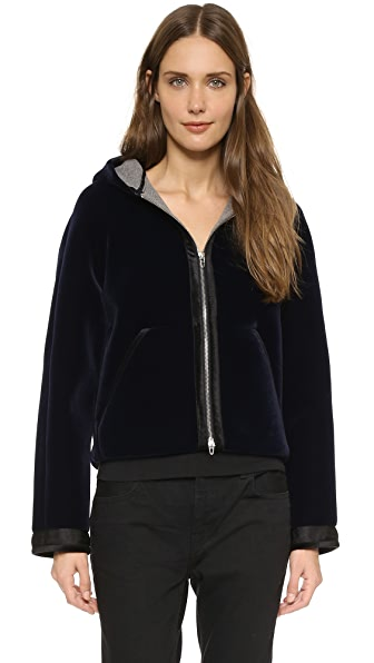 T by Alexander Wang Bonded Velvet Hooded Jacket