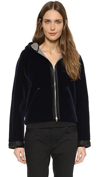T by Alexander Wang Bonded Velvet Hooded Jacket