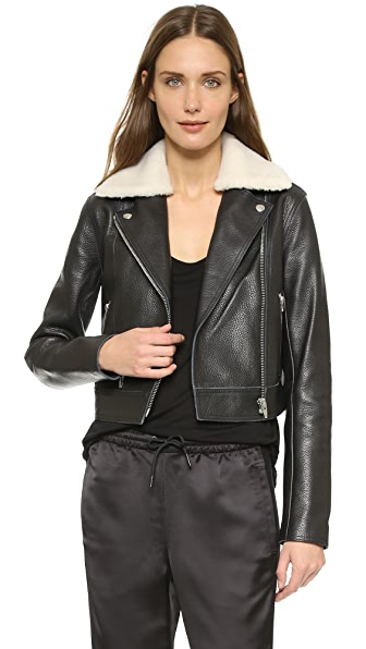 T by Alexander Wang Shearling Collar Leather Moto Jacket | SHOPBOP