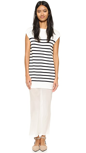 T by Alexander Wang Knit Tank & Silk Combo Dress
