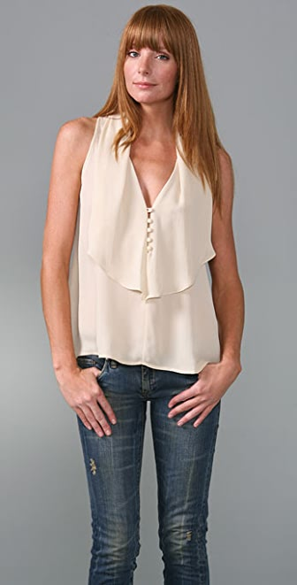 Twelfth St. by Cynthia Vincent Ruffle Sleeveless Blouse