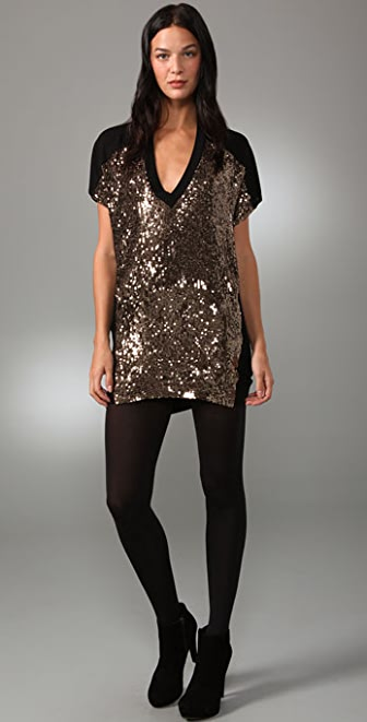 Twelfth St. by Cynthia Vincent Gold Sequin T-Shirt Dress | 15% off ...