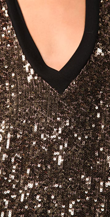 Twelfth St. by Cynthia Vincent Gold Sequin T-Shirt Dress