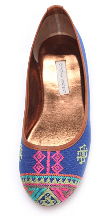 Twelfth St. by Cynthia Vincent Sage Embroidered Ballet Flats