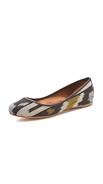 Twelfth St. by Cynthia Vincent Sage Ikat Print Ballet Flats