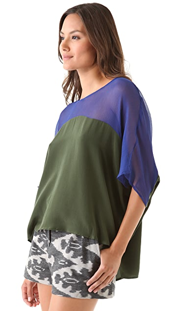 Twelfth St. by Cynthia Vincent Sheer Yoke Caftan Top