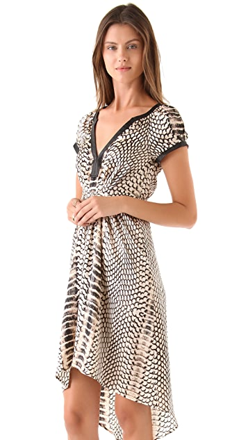 Twelfth St. by Cynthia Vincent Cap Sleeve Dress w Leather Trim