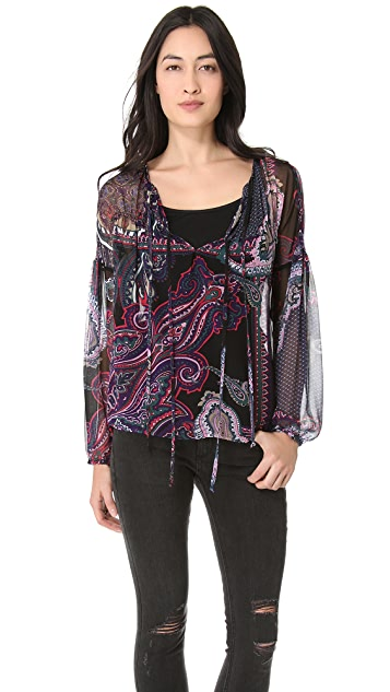 Twelfth St. by Cynthia Vincent Peasant Double Tie Blouse