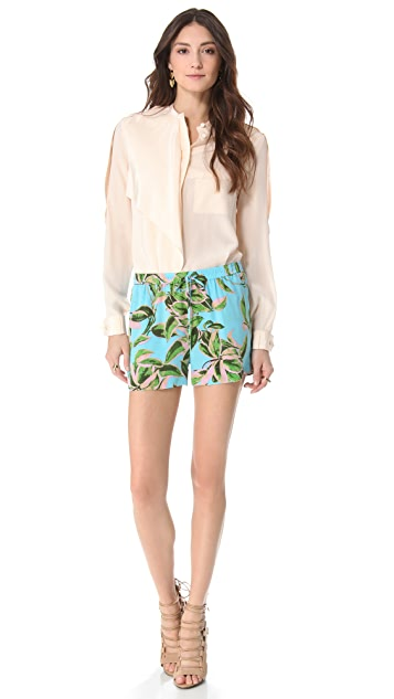 Twelfth St. by Cynthia Vincent Leaf Print Silk Shorts