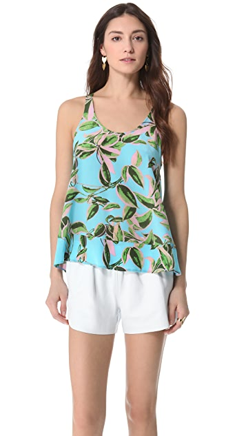 Twelfth St. by Cynthia Vincent Leaf Print Silk Tank Top