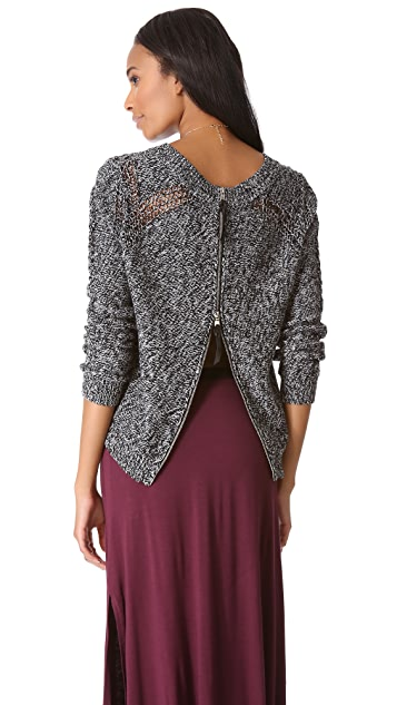Twelfth St. by Cynthia Vincent Zip Back Melange Sweater