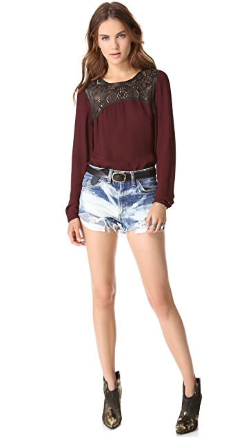 Twelfth St. by Cynthia Vincent Leather Yoke Blouse