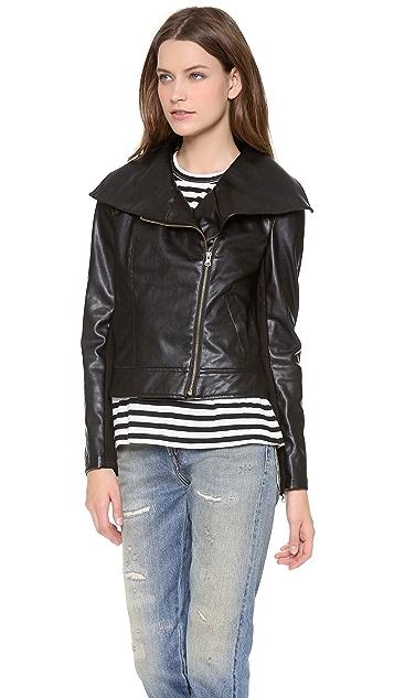 Twelfth St. by Cynthia Vincent Moto Jacket with Faux Fur Vest