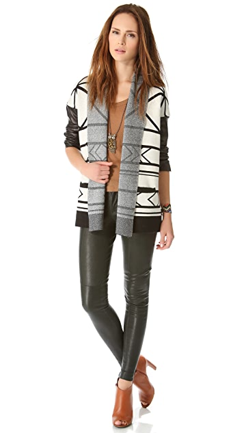 Twelfth St. by Cynthia Vincent Log Cabin Sweater with Leather Sleeves