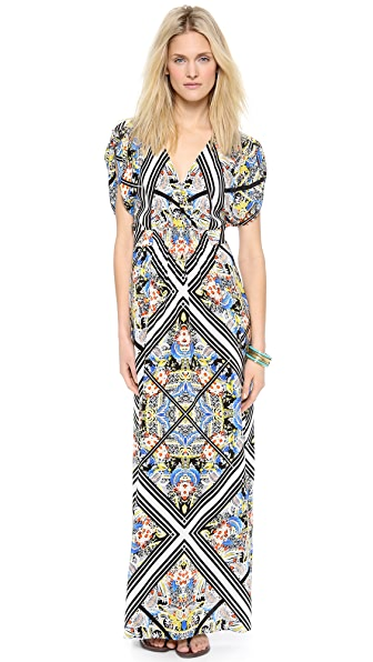 Twelfth St. by Cynthia Vincent Tie Waisted Printed Maxi Dress