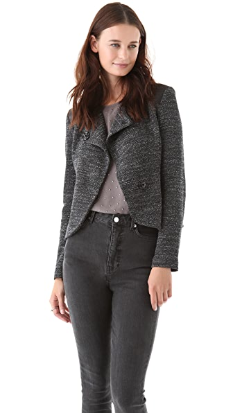 Twenty Knit Jacket with Leather Trim