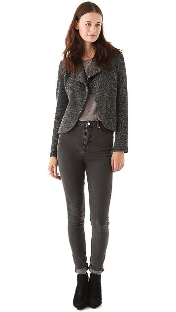 Twenty Knit Jacket with Leather Trim