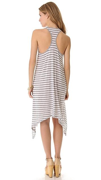 291 Stripe Curved Hem Dress