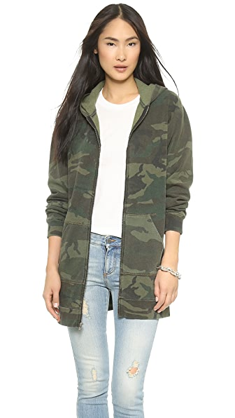 TEXTILE Elizabeth and James Camo Zip Front Hoodie