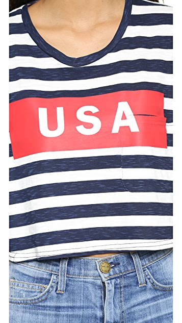 TEXTILE Elizabeth and James USA Stripe Cropped Tee