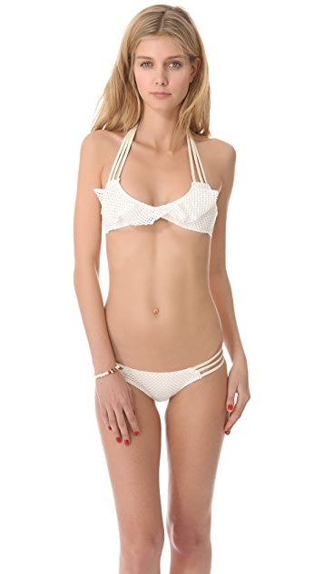 Tyler Rose Swimwear Circle Dance Mesh Ruffle Bikini Top