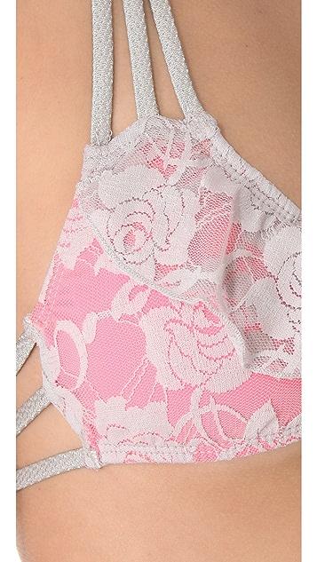 Tyler Rose Swimwear Leather & Lace Bikini Top