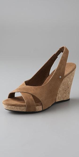 f44a005d4f4a Ugg Australia Callia Wedge Sandal Black Suede