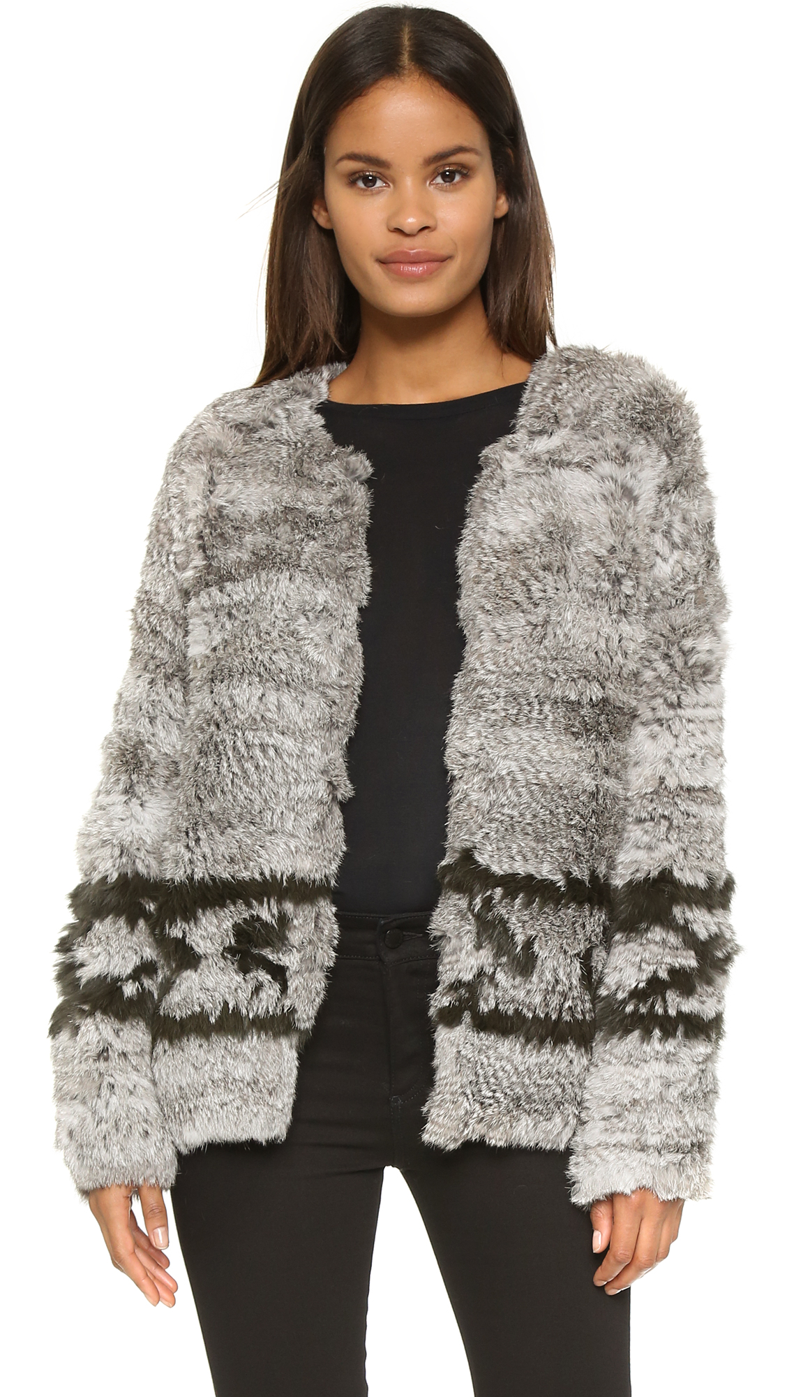 Ulla Johnson Farah Fur Intarsia Jacket | SHOPBOP