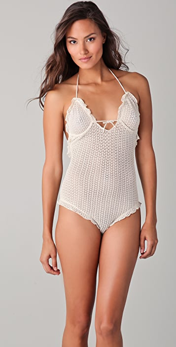 Undrest Pointelle Knit Halter Bodysuit