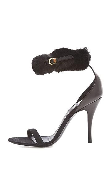 VIKTOR & ROLF Rabbit Fur Ankle Strap Sandals