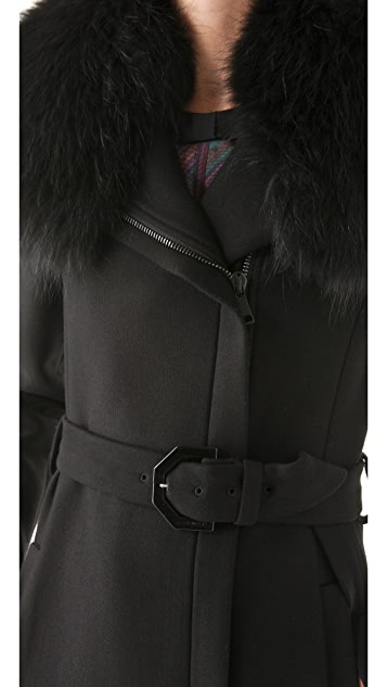 VIKTOR & ROLF Twill Coat with Fur Collar