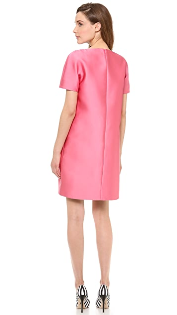 VIKTOR & ROLF Leather Bib Shift Dress
