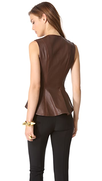 Veronica Beard Sleeveless Leather Peplum Top
