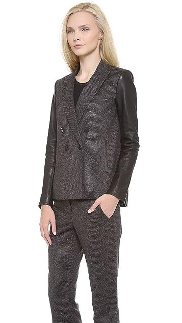 Veronica Beard Scuba Dickey Jacket with Leather Sleeves