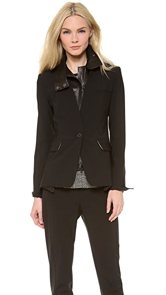 Veronica Beard The Jacket with Leather Dickey