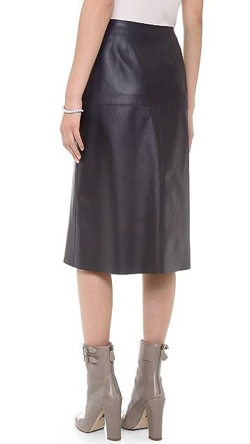 Veronica Beard The Leather Midi Skirt