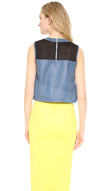 Veronica Beard Leather Crop Top