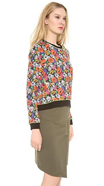 Veronica Beard Hothouse Floral Scuba Sweatshirt