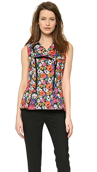 Veronica Beard Hothouse Floral Scuba Sleeveless Moto Top