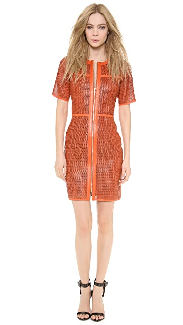 Veronica Beard Lasercut Star Leather Dress