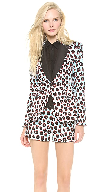 Veronica Beard 3D Leopard Tux Jacket