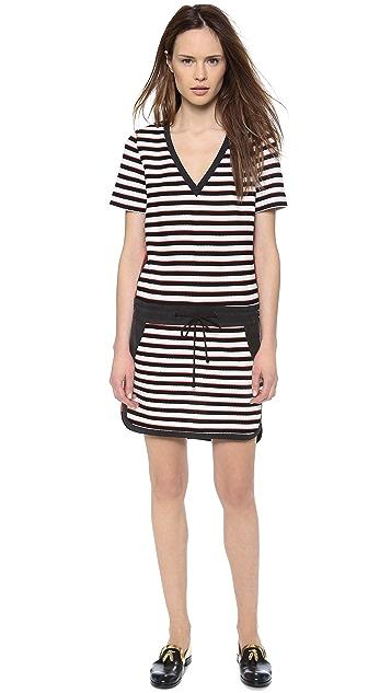 Veronica Beard Stripe Knit T-Shirt Dress