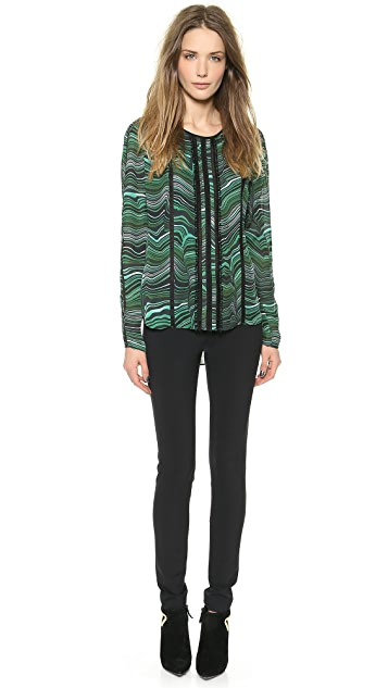 Veronica Beard Malachite Lace Inset Blouse