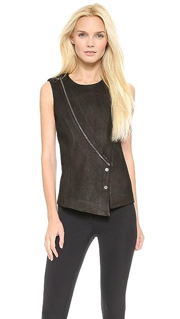 Veronica Beard Zip Leather Panel Top