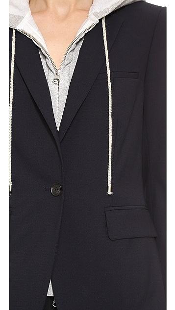 Veronica Beard Navy Classic Jacket with Hoodie Dickey