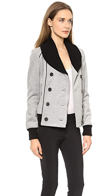 Veronica Beard Felted Wool Bomber Jacket with Scuba Dickey